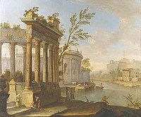 """""""A Capriccio Landscape with Figures and Classical Ruins by a River"""" by Willem van der Hagen.jpg"""