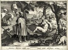 Gravure en noir et blanc représentant un homme débarquant d'une caravelle et portant un étendard, il rencontre une femme nue allongée sur un hamac.