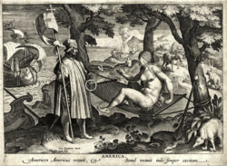 Engraving of Vespucci awakening a native woman