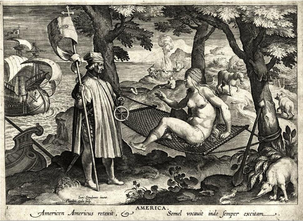 """""""America"""" (Engraving) Nova reperta (Speculum diuersarum imaginum speculatiuarum 1638)"""