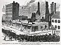 """""""Missouri.-Destruction of the Southern Hotel, at the Corner of Fifth and Elm Streets, St. Louis, by Fire, on the morning of April 11th."""" - """"Searching the Ruins, on the Morning of April 11th, for the Bodies of Victims."""".jpg"""
