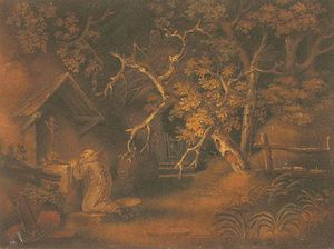 Marmotinto - Georgian sand painting by Benjamin Zobel, c. 1800