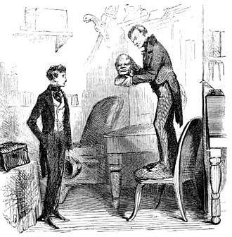 John Wemmick - Wemmick shows the death mask of an executed murderer to Pip in Jaggers's office, by John McLenan