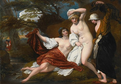 'Musidora and Her Two Companions, Sacharissa and Amoret, at Their Bath Espied by Damon' by Benjamin West