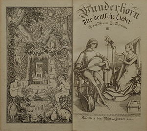 Des Knaben Wunderhorn - Frontispiece and title-page, Volume 3, published in 1808