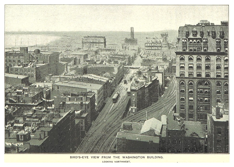 (King1893NYC) pg695 BIRD%27S-EYE VIEW FROM THE WASHINGTON BUILDING; LOOKING NORTHWEST