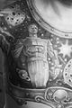 (Man) Chest tattoo. Monument to Yuri Gagarin (astronaut) in Moscow. Black and White.jpg