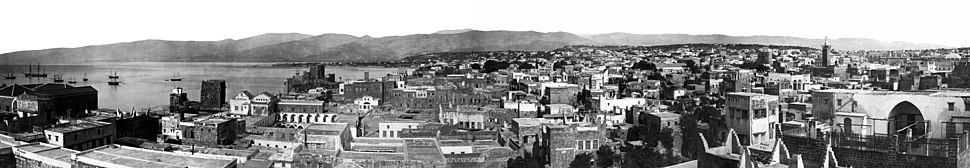 An aerial panoramic view of Beirut in the last third of the 19th century