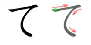 Te (kana) - Stroke order in writing て
