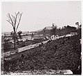 -White picket fence with buildings in background-. Brady album, p. 123 MET DP70816.jpg