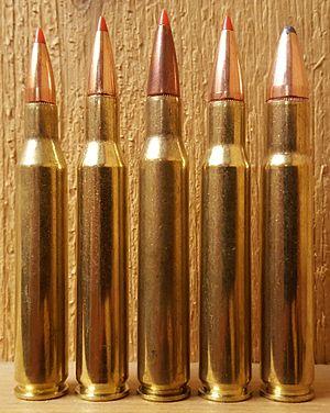 .30-06 Springfield Wildcat Cartridges - From left: .25-06, .270 Win, .280 Rem, .30-06, .35 Whelen