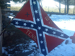 19th Tennessee Infantry - Flag of the 19th Tennessee Infantry Reenactors. The fate of the regiment's actual flag is unknown. The design is based on other Tennessee regimental flags and a drawing from a circa 1897 veterans reunion, at which the 19th's flag may have been present. It is believed to be a fairly accurate rendition of the 19th Tennessee's flag.