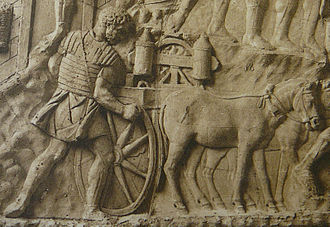 Trajan's Column - Roman carroballista, a cart-mounted field artillery weapon (relief detail)