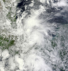 A visible satellite image of a tropical depression nearing tropical storm intensity in the Bay of Campeche.