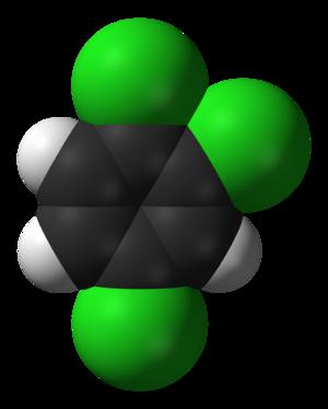 1,2,4-Trichlorobenzene - Image: 1,2,4 trichlorobenzene 3D vd W
