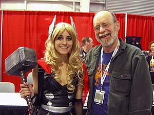 Walt Simonson - Simonson with a Thor cosplayer at the 2012 New York Comic Con