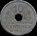 10 centimes état français revers.png