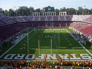 Stanford Stadium before a football game, the n...