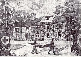 Photocopie d'un dessin réalisé par un soldat représentant le château servant d'infirmerie de guerre pendant le débarquement allié