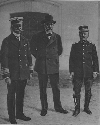 "Triumvirate - The ""Triumvirate of National Defence"": (L-R) Admiral Kountouriotis, Venizelos, and General Danglis"