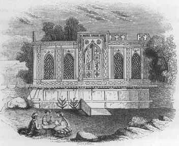 The tomb of the first Mughal Emperor Babur in Kabul 1842 tomb of Babur by Charles Masson.png