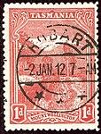 1912 1d wmrk A Tasmania Hobart Yv75 SG250.jpg