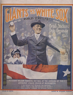 A program from the 1917 World Series, depicting Woodrow Wilson