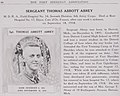 1918 flu pandemic victim, Sgt. Thomas Abbott Abrey died on September 18, 1918 at Hospital No. 17, France - The History and achievements of the Fort Sheridan officersʾ training camps (IA historyachieveme00fort 1) (page 44 crop).jpg