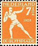 1928 Summer Olympics stamp of the Netherlands athletics.jpg