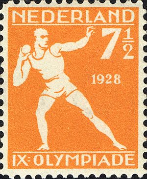 Athletics at the 1928 Summer Olympics – Men's shot put - Men's shot put at the 1928 Summer Olympics on a stamp of the Netherlands