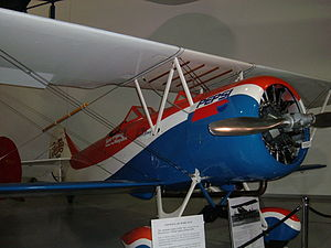 Travel Air - A 1928 Travel Air Model D-4-D on display at the Hiller Aviation Museum