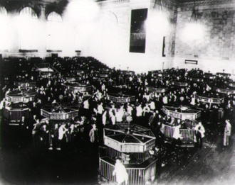 Wall Street Crash of 1929 - The trading floor of the New York Stock Exchange in 1930, six months after the crash of 1929