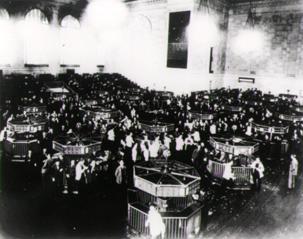 Stock exchange trading floor after the 1929 crash 1930-67B.png