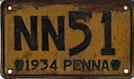 1934 Pennsylvania license plate NN51.jpg
