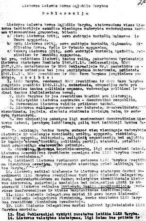 Lithuanian Partisans Declaration of February 16, 1949 - February 16, 1949 Declaration by Union of Lithuanian Freedom Fighters