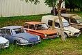 1969 Citroën DS, 1977 Simca 1100 LX Elix, Citroën Acadiane, Saint-Cirq-Madelon, Lot, France (8482302118).jpg