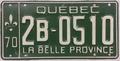 1970 Québec license plate 2B-0510.png