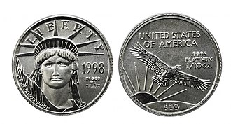 American Platinum Eagle - Image: 1998 Tenth Ounce American Platinum Eagle
