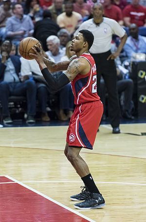 Kent Bazemore - Bazemore taking a free-throw for Atlanta in a game against Washington in 2015