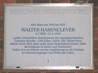 Walter Hasenclever - Image: 2007 03 06 Gedenktafel Hasenclever