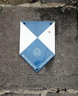 2011-08-09 Bruegge Belfried sign protected monument.JPG