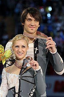 2011 World Championships Tatiana VOLOSOZHAR Maxim TRANKOV Podium.jpg