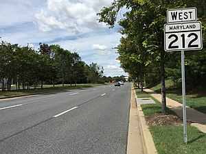 Maryland Route 212 - View west along MD 212 near US 1 in Beltsville