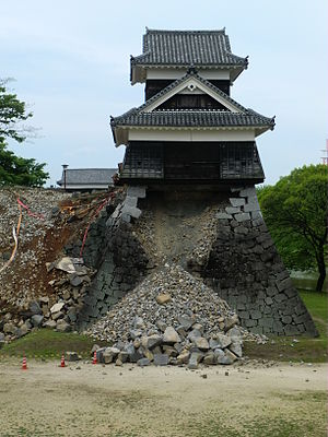 Kumamoto Castle - One of the turrets damaged by the earthquakes