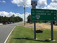 2017-07-07 15 16 56 View south along Virginia State Route 281 (Airport Drive) at Charles City Road in Sandston, Henrico County, Virginia.jpg