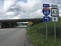 2017-07-23 17 08 48 View north along West Virginia State Route 43 (Mon Fayette Expressway) at Interstate 68 in Cheat Lake, Monongalia County, West Virginia.jpg
