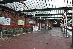 2018 at Ulverston station - platform 1 canopy.JPG
