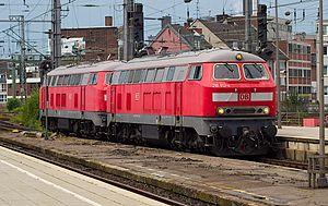 DB Class 218 - A pair of Class 218s at Köln Hbf, 2013.