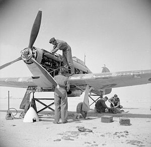Ernest Lucas Guest - Fitters working on the engine of a Hawker Hurricane of No 237 (Rhodesian) Squadron in Iran.