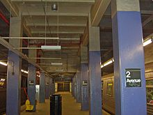 A large drop in the ceiling of the Second Avenue station on the Lower East Side; the unbuilt Second Avenue Subway was to pass through above the lower ceiling